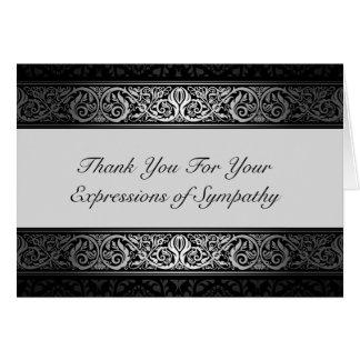Negros y de plata elegantes le agradecen por su tarjeta de felicitación