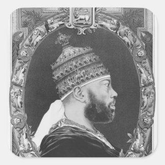 Negus de Etiopía, Menelik II Pegatina Cuadrada