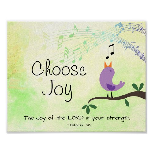 Nehemiah 8:10 Joy of the Lord is Your Strength Poster