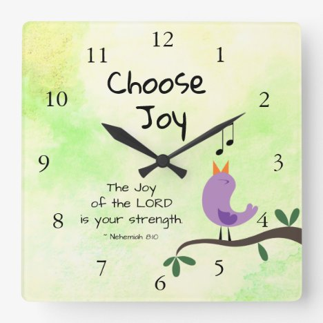 Nehemiah 8:10 Joy of the Lord is Your Strength Square Wall Clock