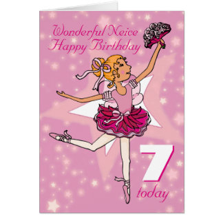 Neice ballerina birthday pink purple age 7 card