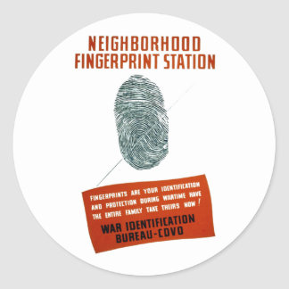 Neigborhood Fingerprint Station Classic Round Sticker
