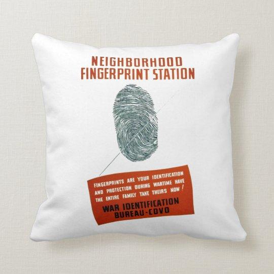 Neigborhood Fingerprint Station Throw Pillow