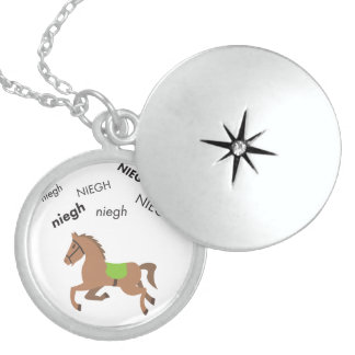 Neigh Horse Cute Emoji Sterling Silver Necklace