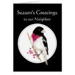 Neighbor Holiday with Rose Breasted Grosbeak Bird Greeting Card