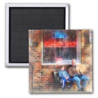 Neighborhood Barber Shop 2 Inch Square Magnet