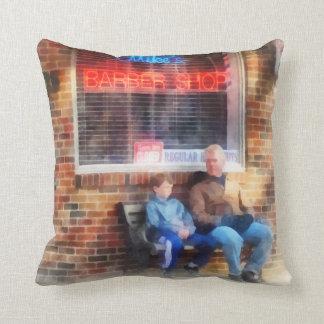 Neighborhood Barber Shop Throw Pillows