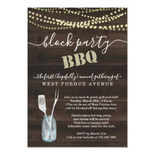 Neighborhood Block Party BBQ Invitation