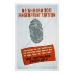 Neighborhood Fingerprint Station - WPA Poster