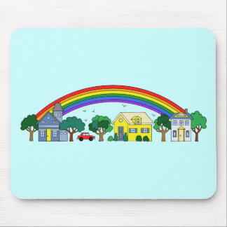 Neighborhood of Houses Under a Rainbow Mouse Pad
