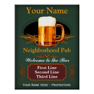 Neighborhood Pub Sign (Personalized) Poster