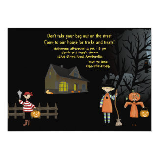 "Neighborhood Trick or Treaters Invitation 5"" X 7"" Invitation Card"