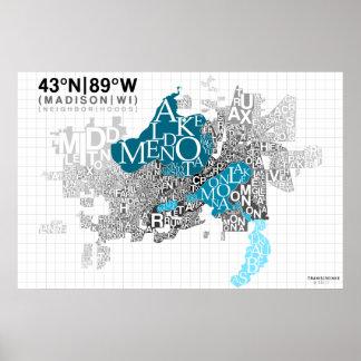 Neighborhood Typography - Madison, WI Poster