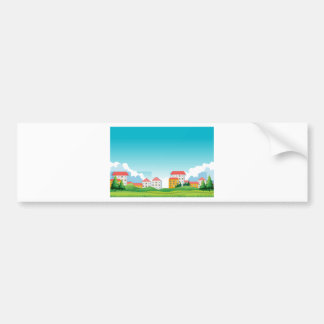 Neighborhood with houses and park bumper sticker