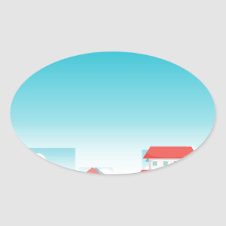 Neighborhood with houses and park oval sticker