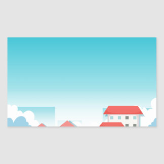Neighborhood with houses and park rectangular sticker