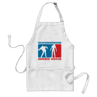 Neighborhood Zombie Watch - Red and Blue Adult Apron