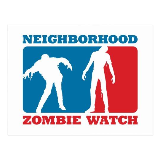 Neighborhood Zombie Watch - Red and Blue Postcard