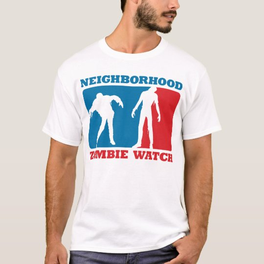Neighborhood zombie watch red and blue t shirt zazzle for Red and blue t shirt