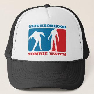 Neighborhood Zombie Watch - Red and Blue Trucker Hat