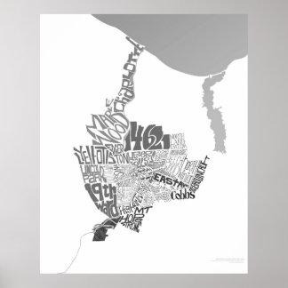 Neighborhoods of Rochester, NY (black & white) Print