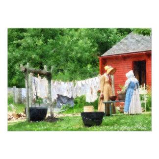 Neighbors Gossiping on Washday Custom Invitations
