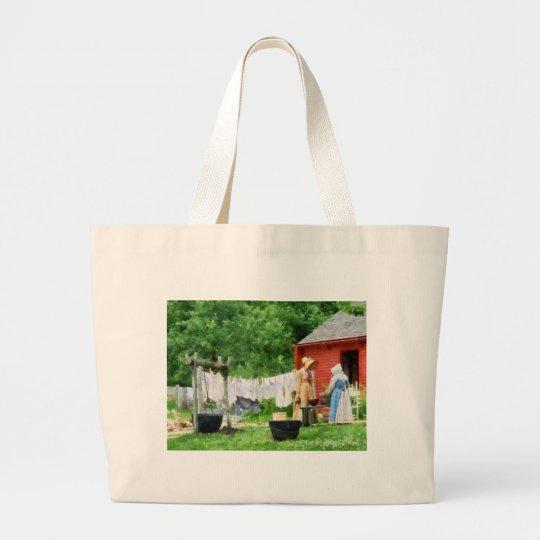 Neighbors Gossiping on Washday Large Tote Bag