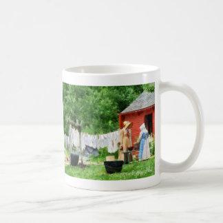 Neighbors Gossiping on Washday Coffee Mugs