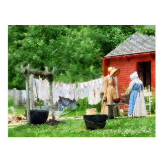 Neighbors Gossiping on Washday Postcard
