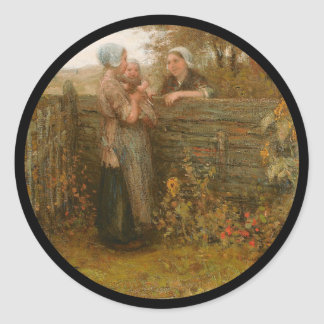Neighbors Visiting Over the Fence Classic Round Sticker