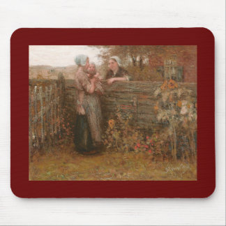 Neighbors Visiting Over the Fence Mouse Pad