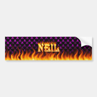Neil real fire and flames bumper sticker design