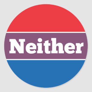 Neither Political Candidate Classic Round Sticker