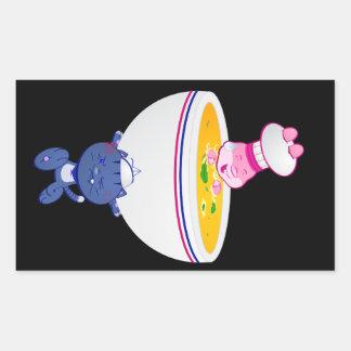 Neko and Usagi™ Soup Bowl Rectangular Sticker