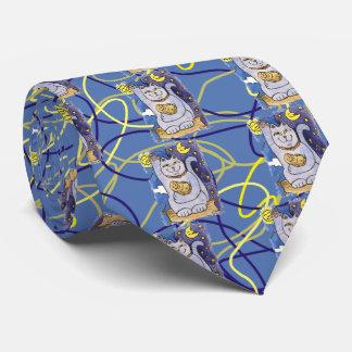 Neko azul con Buda en la almohada del oro Corbata Personalizada