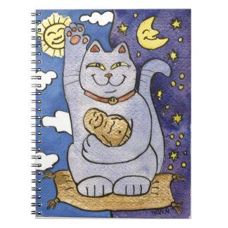 Neko azul con Buda en la almohada del oro Note Book