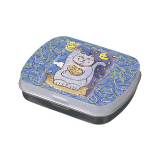 Neko azul con Buda en la almohada del oro Jarrones De Caramelos