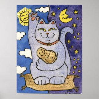 Neko azul con Buda en la almohada del oro Póster