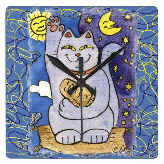 Neko azul con Buda en la almohada del oro Reloj Cuadrado
