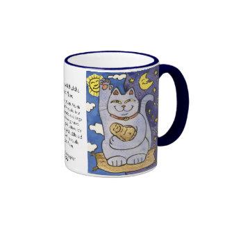 Neko azul con Buda en la taza de la almohada del o