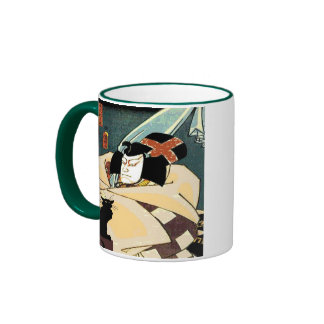 Neko, Black Cat and Samurai Ringer Coffee Mug