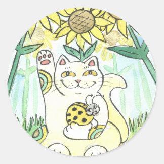 Neko Cat with The Lucky Ladybug: Ms. Sunflower Classic Round Sticker