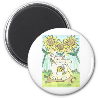 Neko Cat with The Lucky Ladybug: Ms. Sunflower Magnet