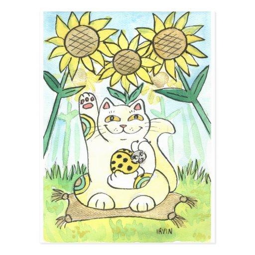 Neko Cat with The Lucky Ladybug: Ms. Sunflower Postcard