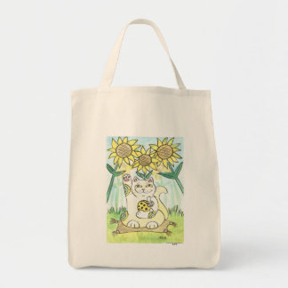 Neko Cat with The Lucky Ladybug: Ms. Sunflower Tote Bag