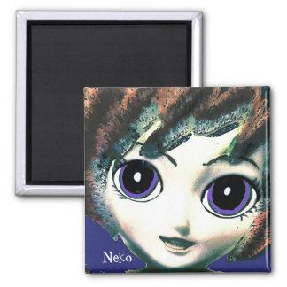 Neko Girl Blue, Colourful Fantasy Art, Magnet Magnet