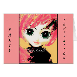 Neko Girl, Candy, party invite greeting cards Cards