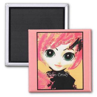 Neko Girl, Candy, square magnets templates Fridge Magnets