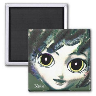 Neko Girl Green, Colourful Fantasy Art, Magnet Refrigerator Magnets