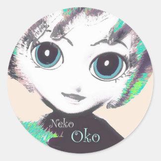 Neko Girl, Oko, colorful round adhesive stickers Sticker